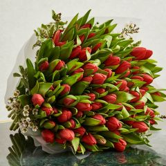 100 Red Tulips Bouquet