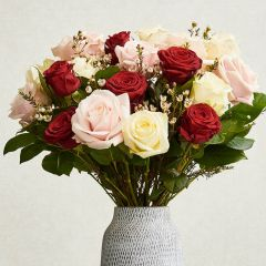 Mixed White, Pink & Red Roses Bouquet