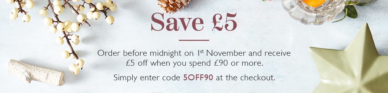 Enter coupon code 5OFF90 to receive £5 off your order
