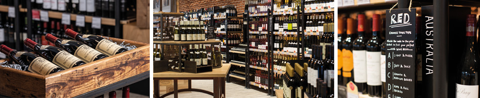 Booths in store wine photography